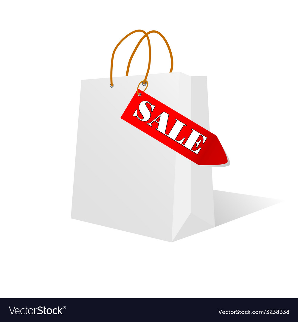 Paper bag white color with sale label vector | Price: 1 Credit (USD $1)