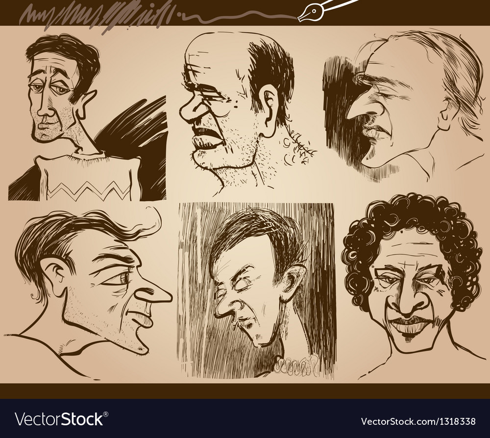 People faces caricature drawings set vector | Price: 1 Credit (USD $1)