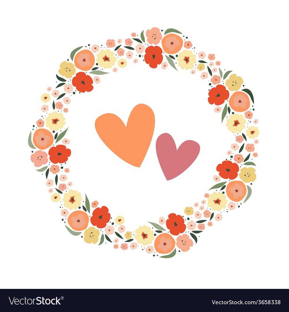 Romantic floral wreath vector