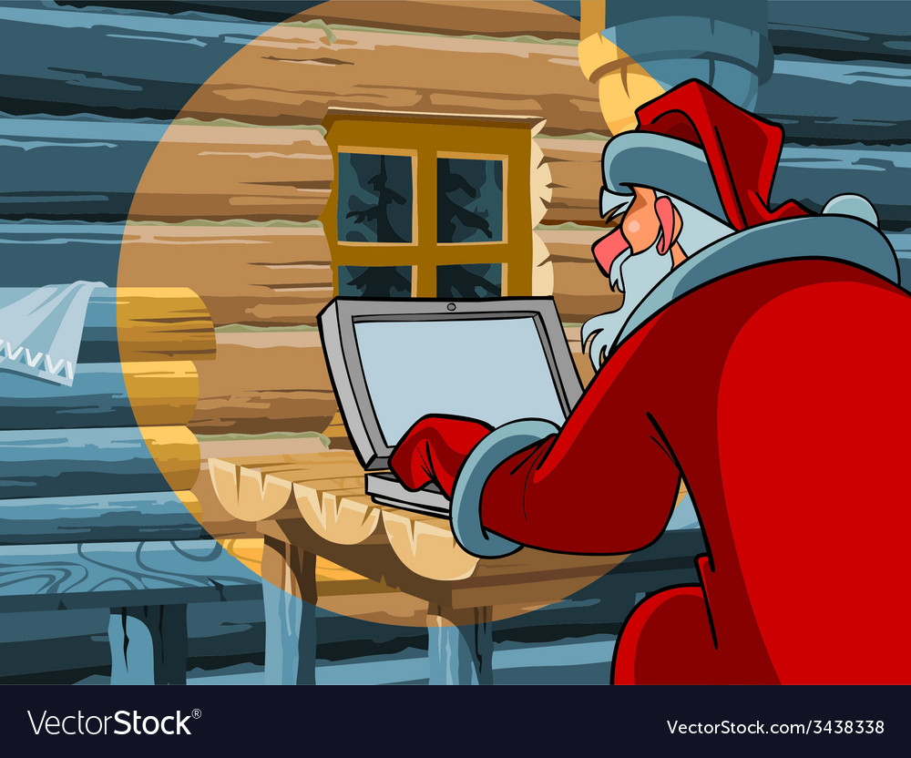 Santa claus typing a letter on the computer vector | Price: 3 Credit (USD $3)