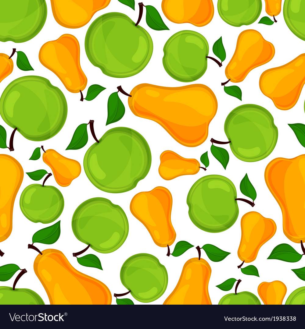 Seamless pattern of pears and apple vector | Price: 1 Credit (USD $1)
