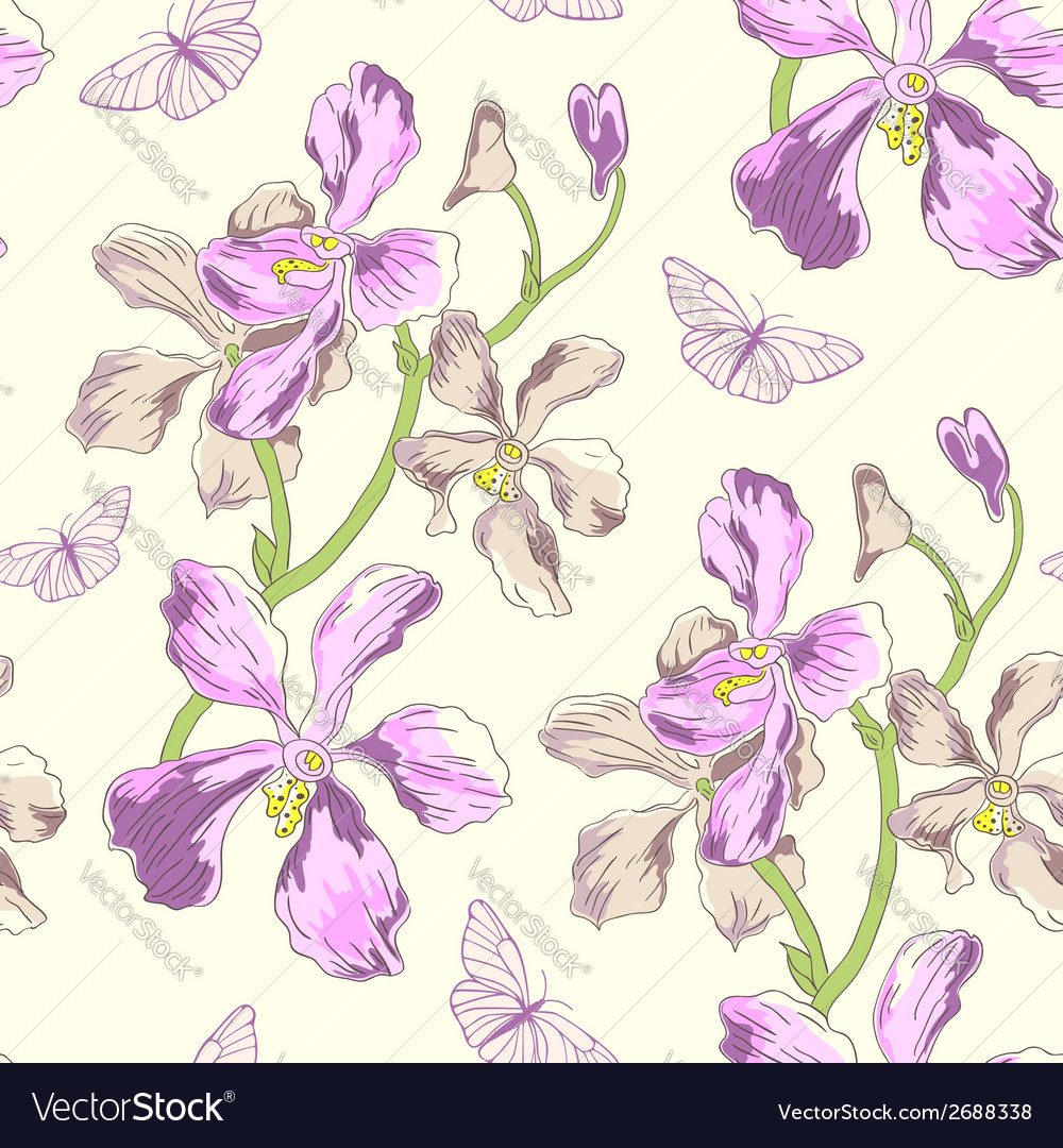Seamless pattern with orchids vector | Price: 1 Credit (USD $1)