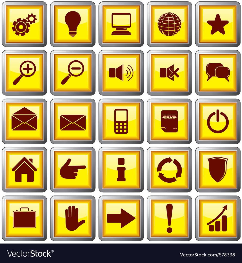 Square shaped web buttons vector | Price: 1 Credit (USD $1)