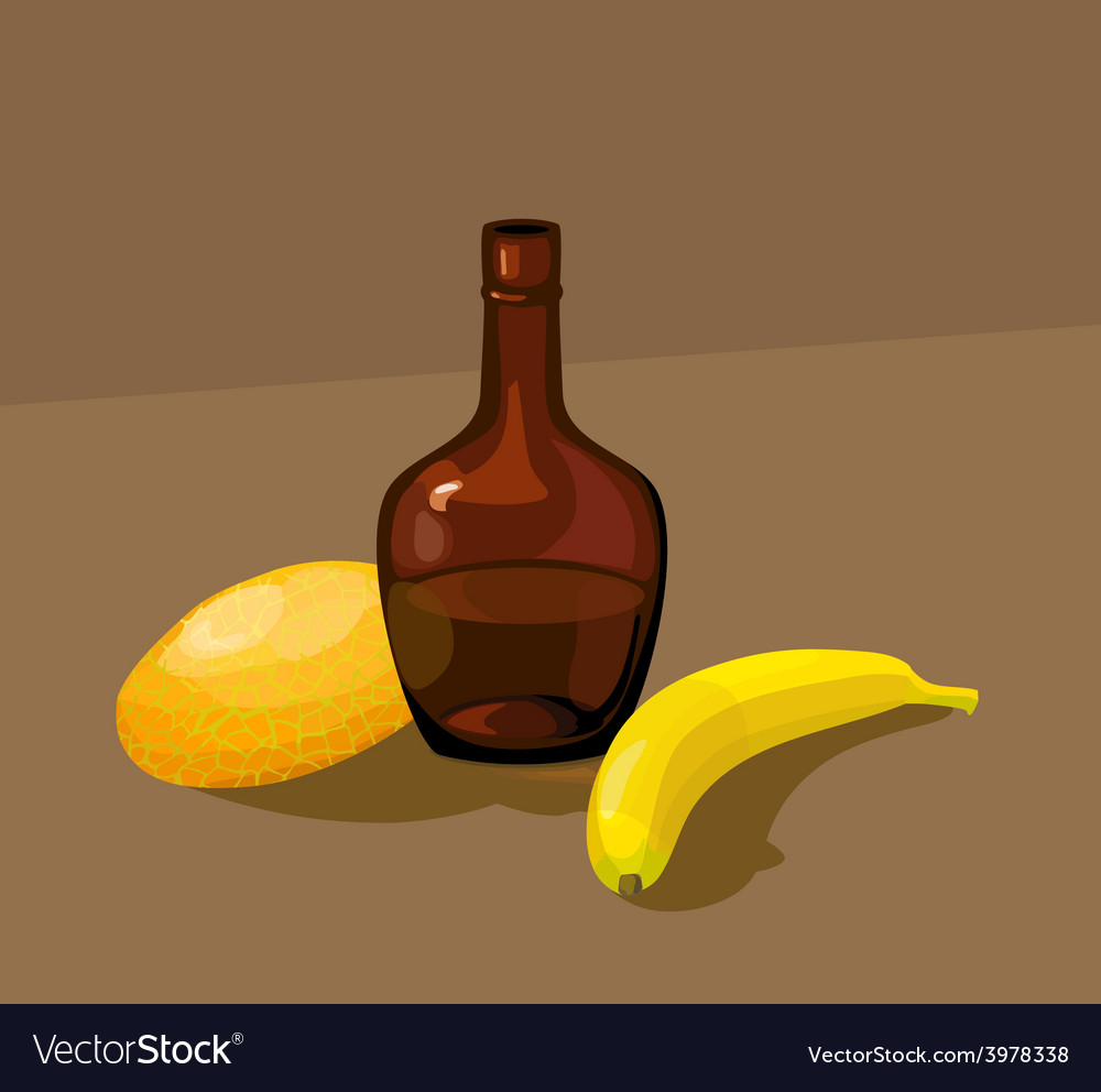 Still life with yellow melon bottle and banana vector | Price: 1 Credit (USD $1)