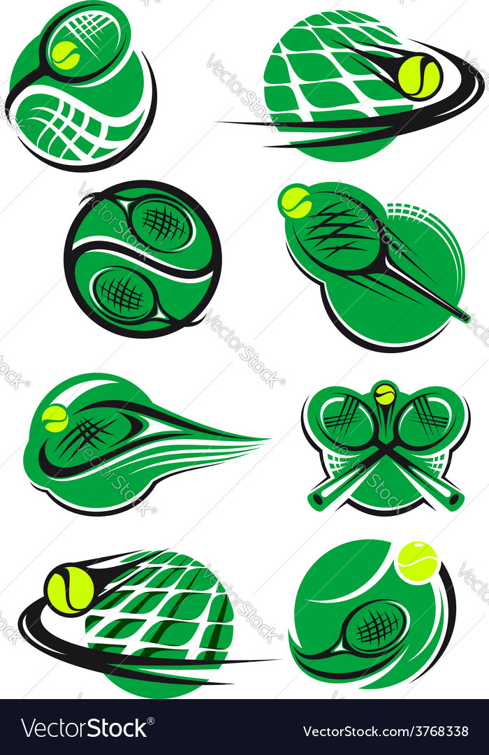 Tennis icons and symols with rackets balls net vector   Price: 1 Credit (USD $1)