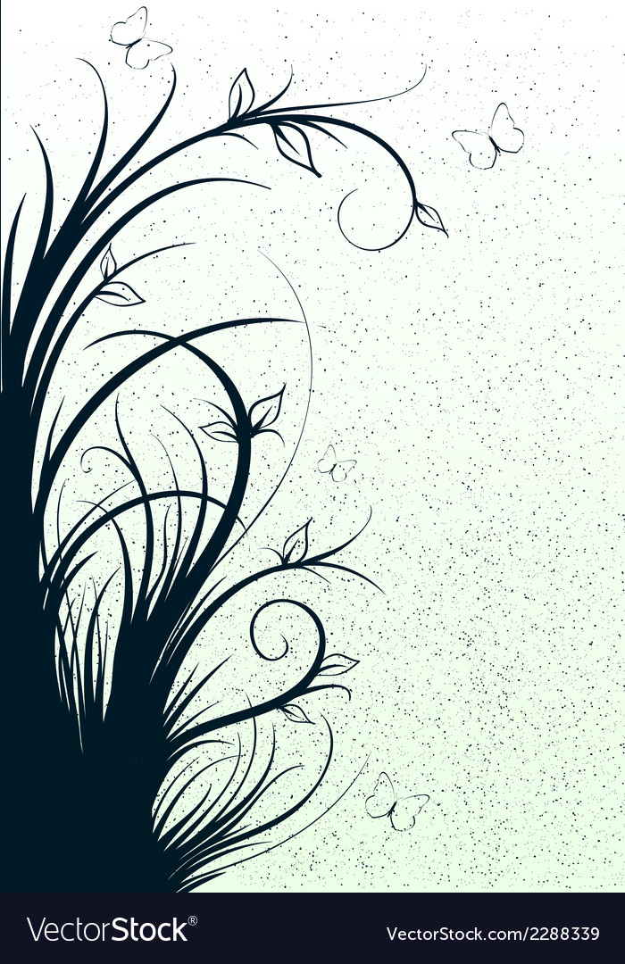 Abstract lines with flowers vector | Price: 1 Credit (USD $1)