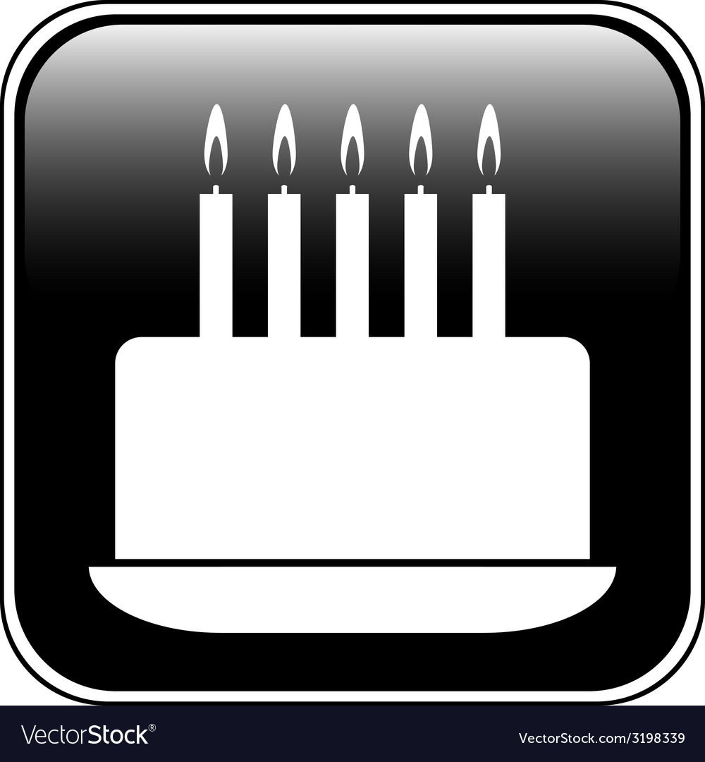 Birthday cake symbol button vector | Price: 1 Credit (USD $1)