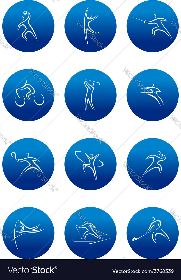 Blue round sporting icons vector | Price: 1 Credit (USD $1)