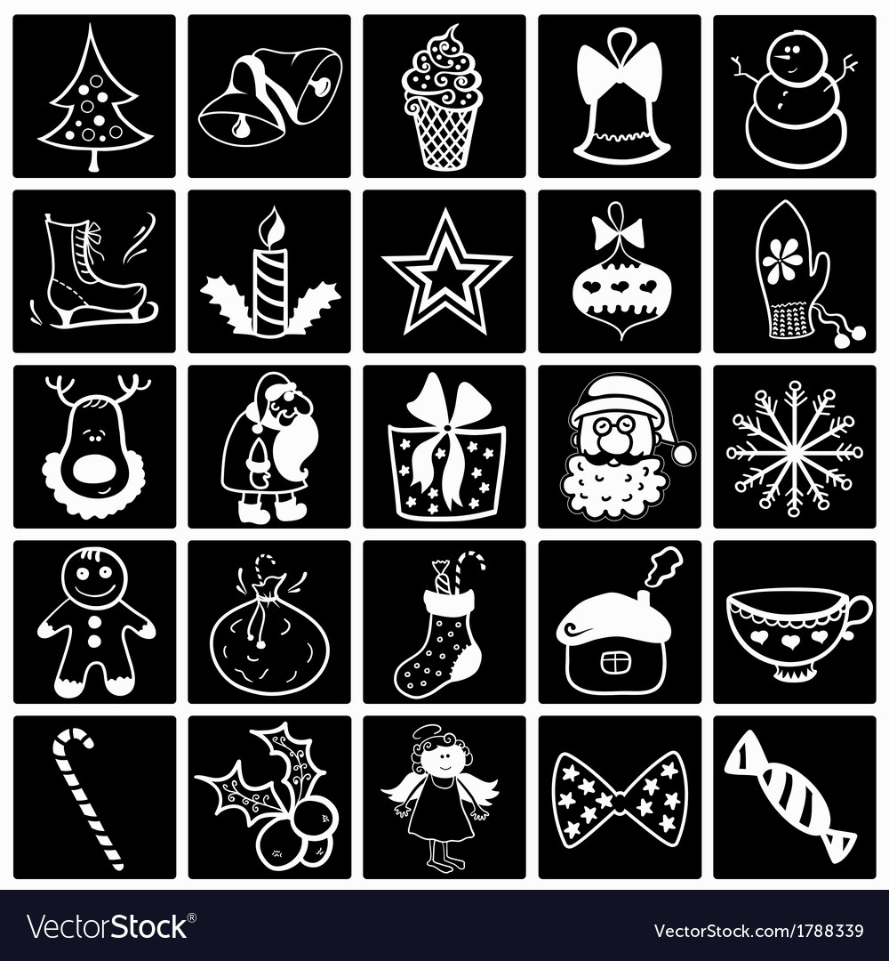 Christmas black-white icon set vector | Price: 1 Credit (USD $1)