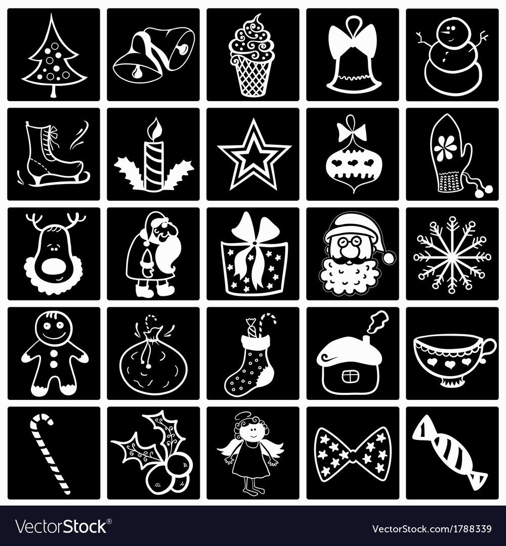 Christmas black-white icon set vector | Price: 1 Credit (USD $1)