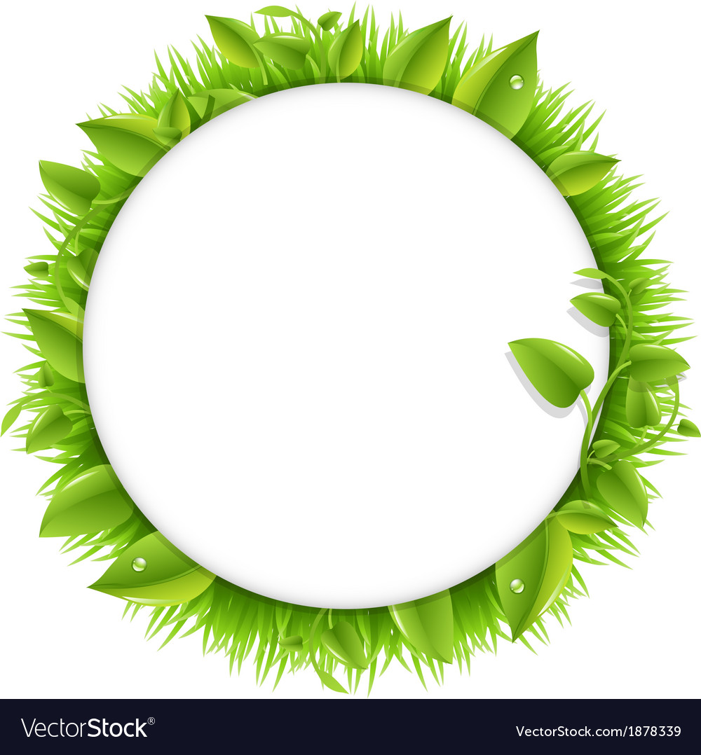 Circle with grass and leafs vector | Price: 1 Credit (USD $1)