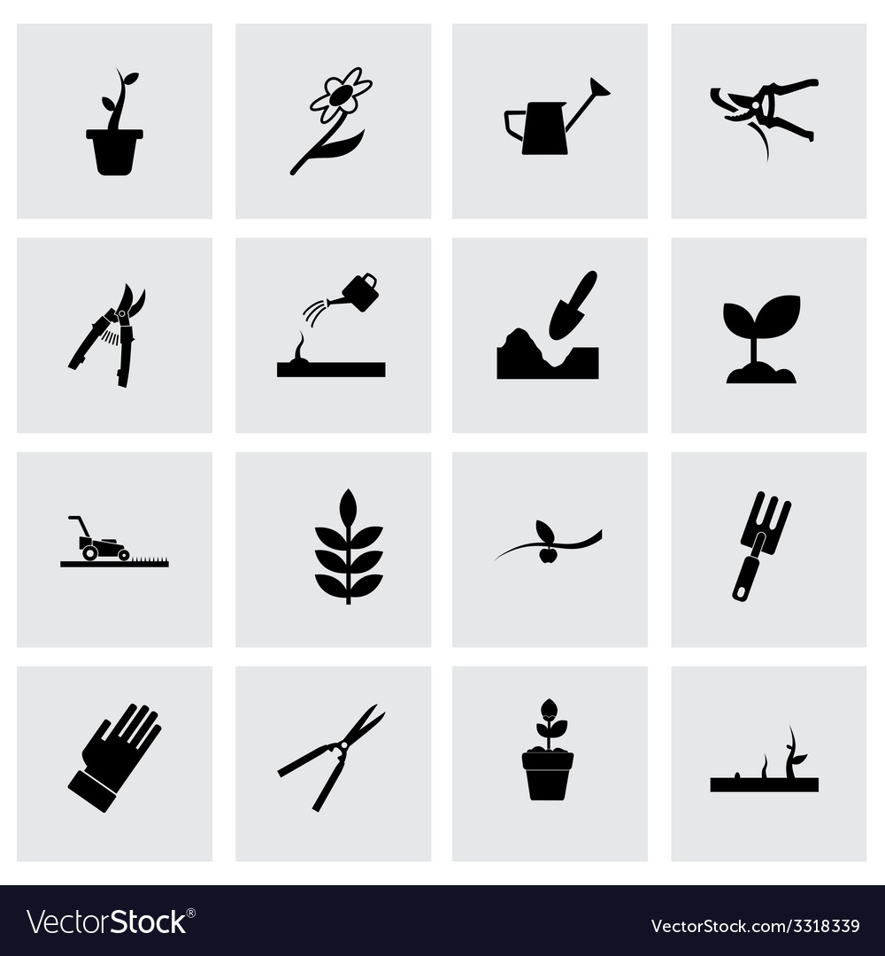Gardening icon set vector | Price: 1 Credit (USD $1)