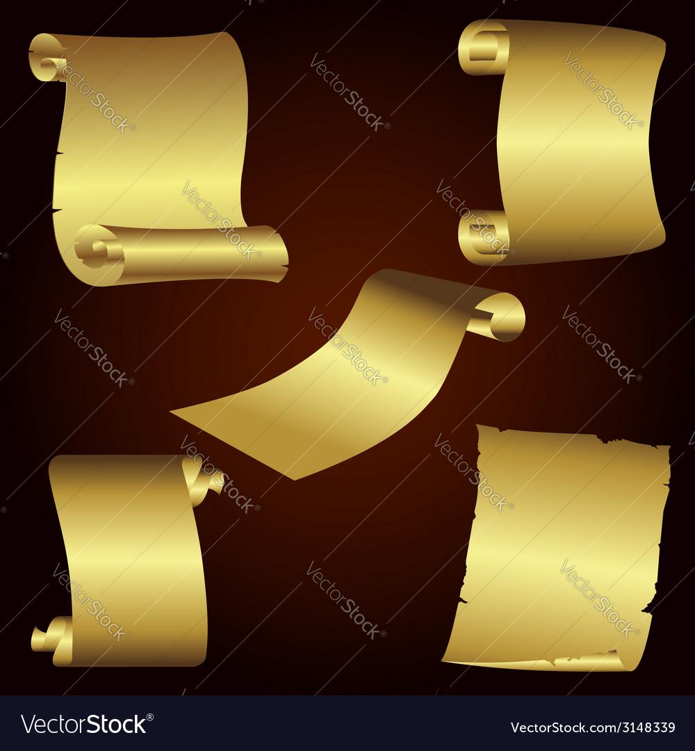 Golden retro papers vector | Price: 1 Credit (USD $1)