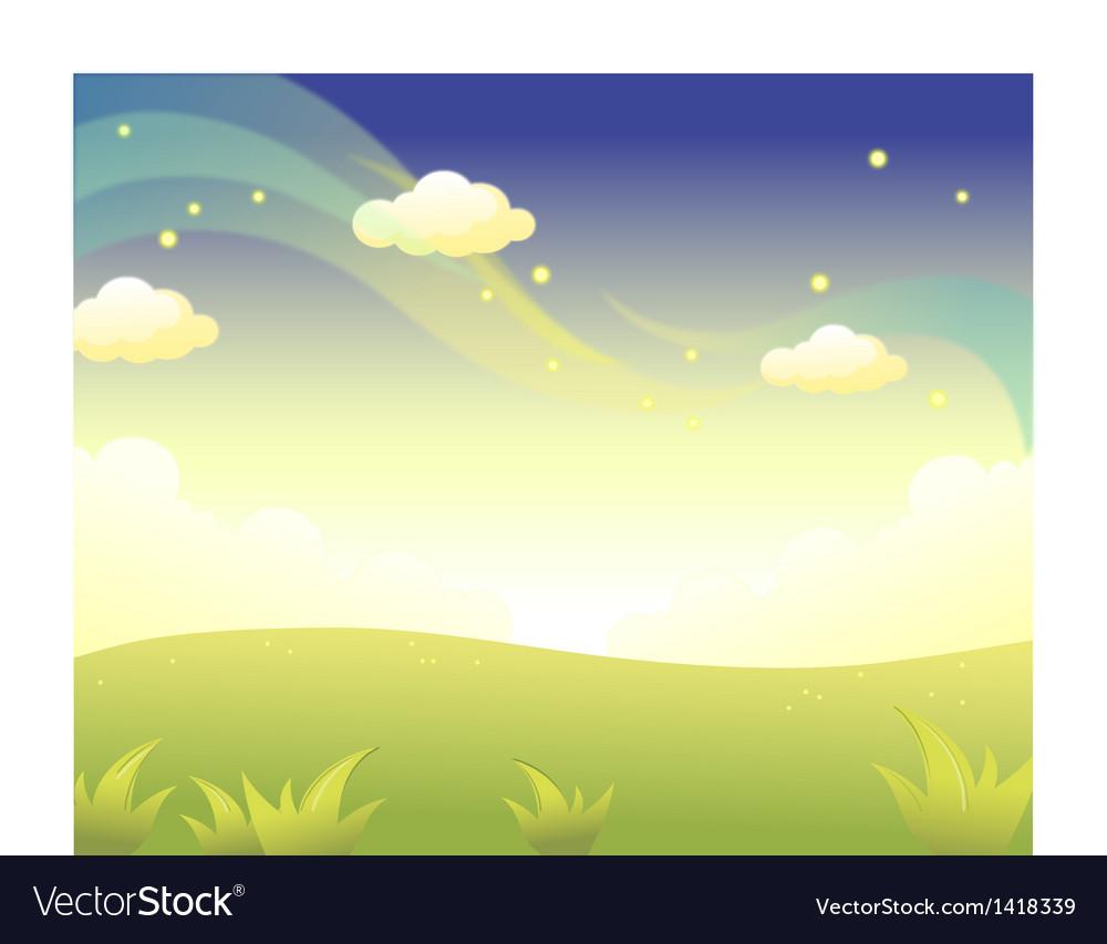 Green landscape sky vector | Price: 1 Credit (USD $1)