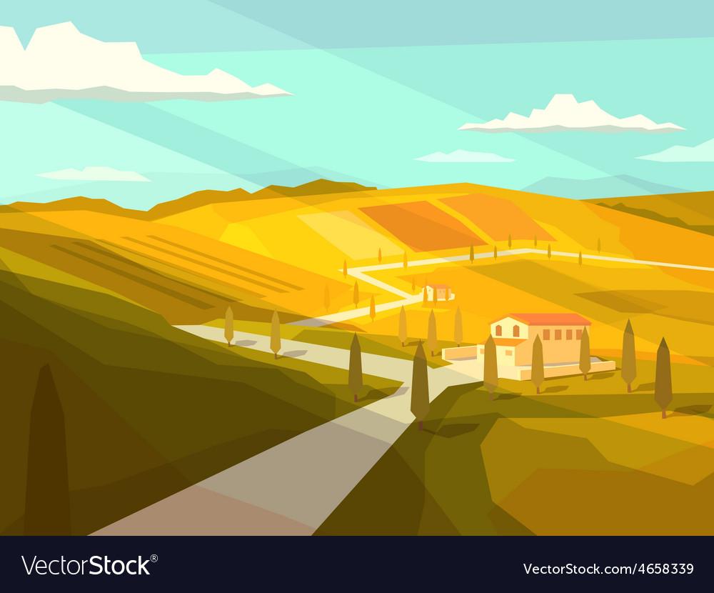 Italian tuscany landscape vector | Price: 5 Credit (USD $5)