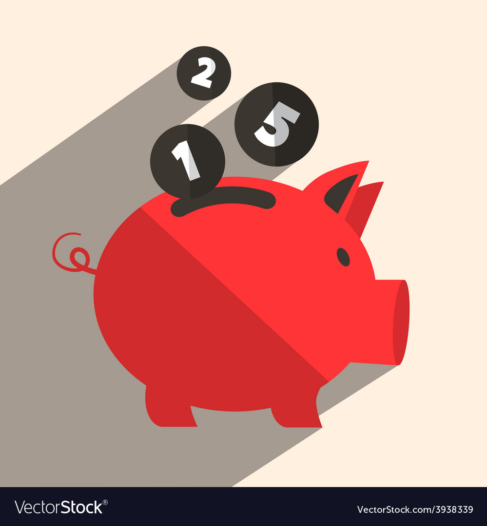 Money pig bank retro vector | Price: 1 Credit (USD $1)