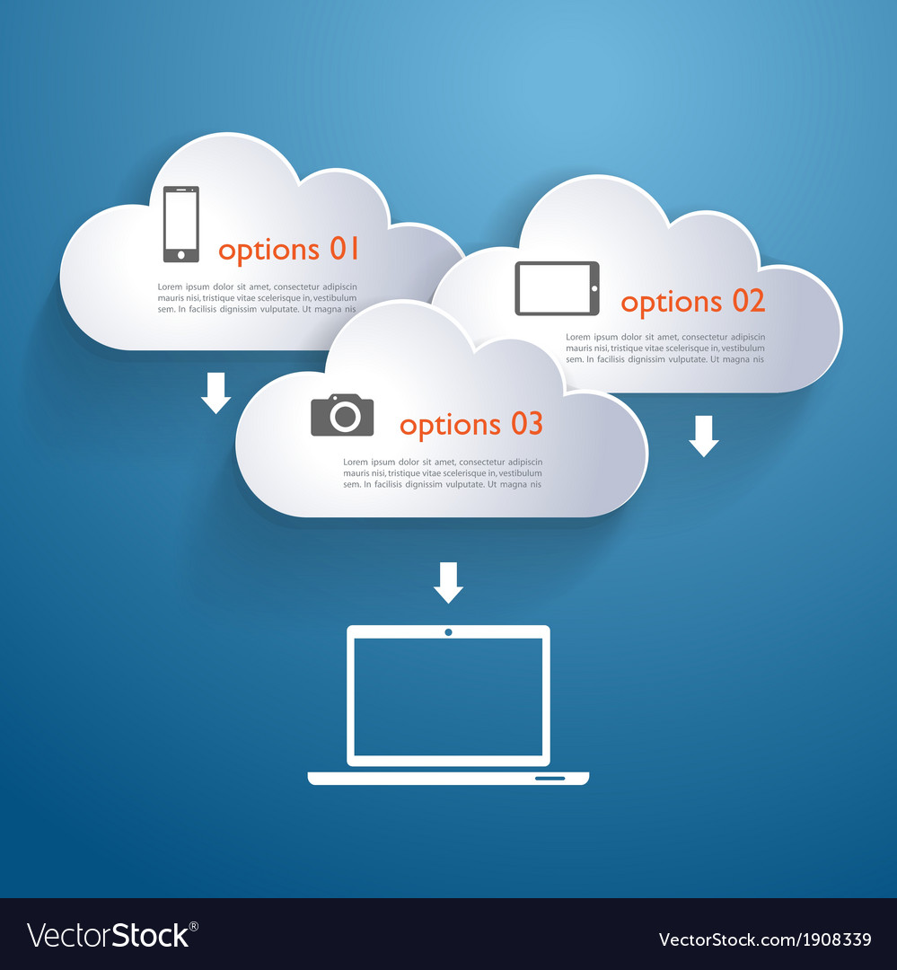 Network clouds with infographic elements and icons vector | Price: 1 Credit (USD $1)