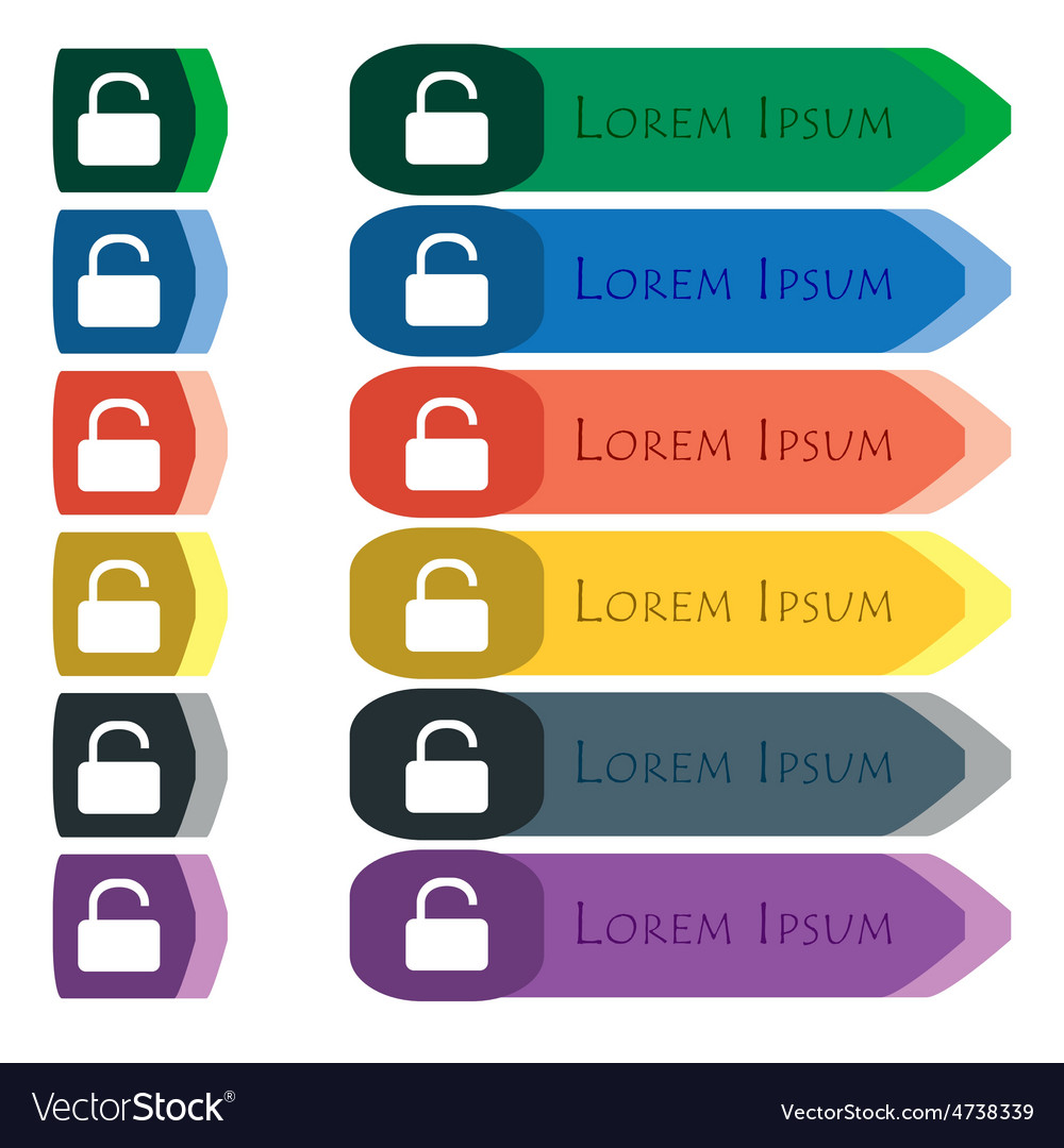 Open padlock icon sign set of colorful bright long vector | Price: 1 Credit (USD $1)