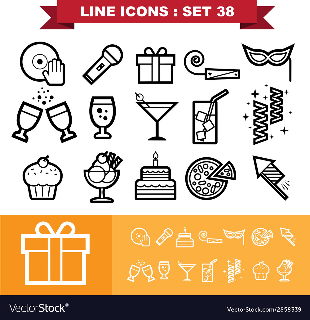 Party line icons set 38 vector | Price: 1 Credit (USD $1)