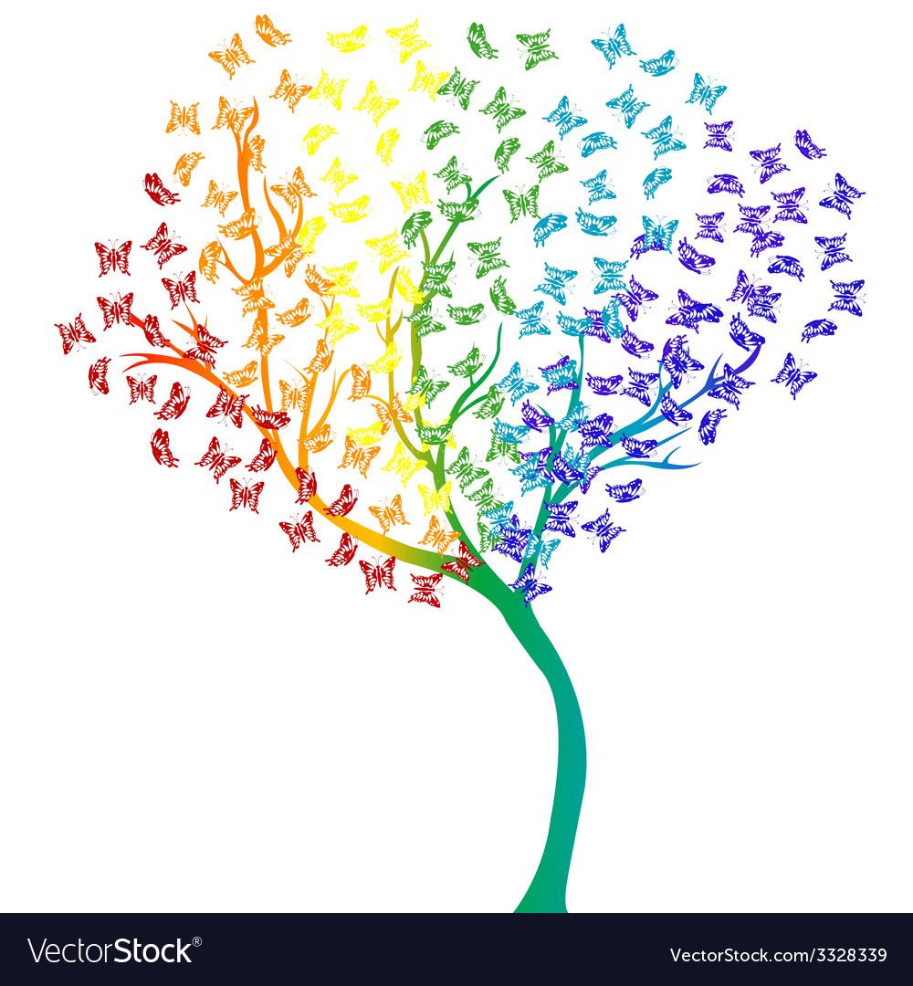 Rainbow butterflies tree vector | Price: 1 Credit (USD $1)