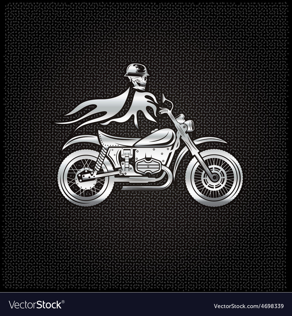 Silver skull in helmet on bike with flames concept vector | Price: 1 Credit (USD $1)