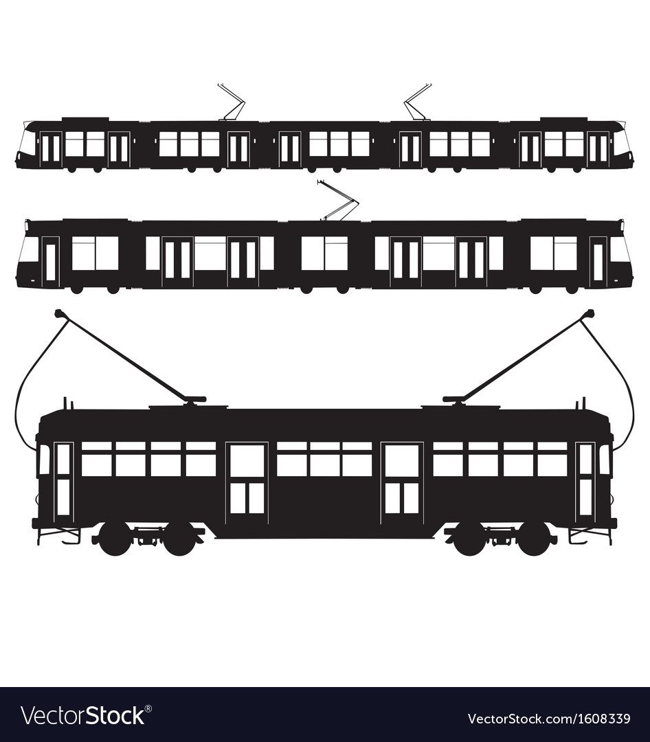 Tram silhouettes vector | Price: 1 Credit (USD $1)