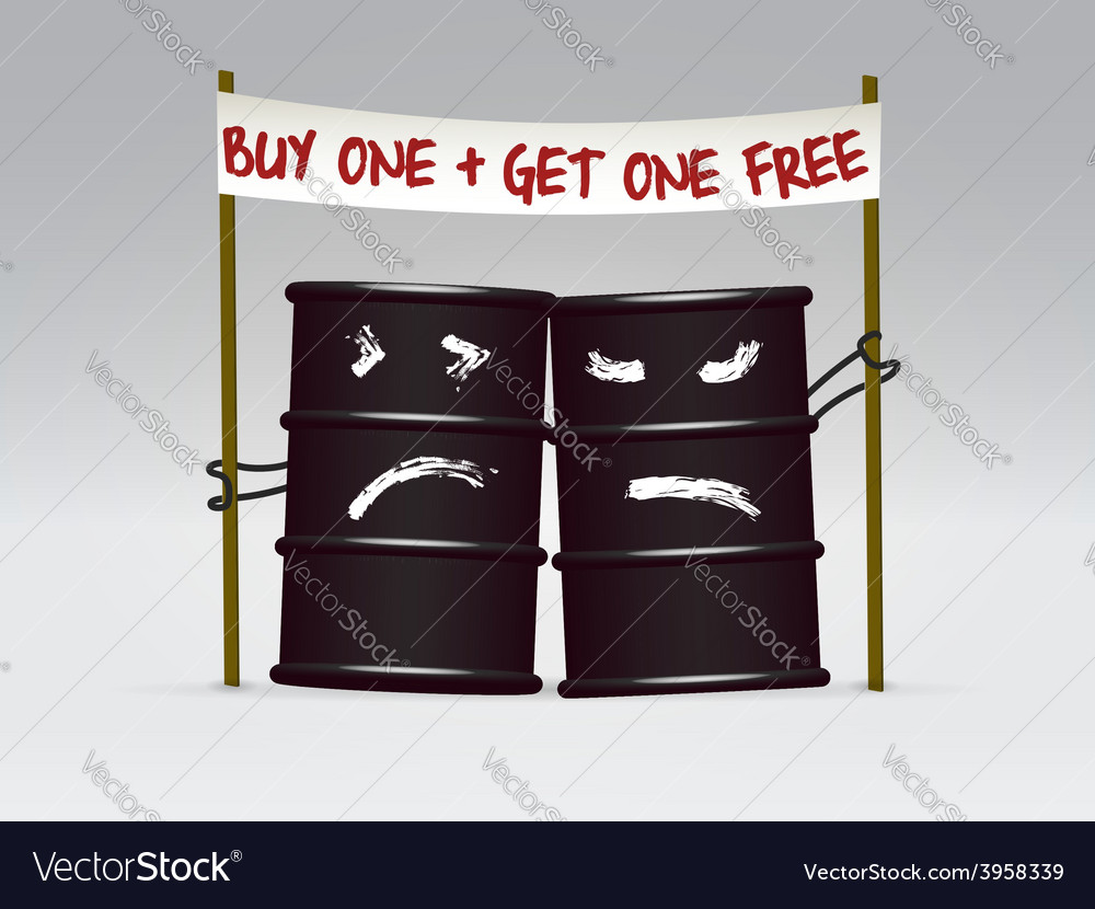 Two oil barrels on sale caricature vector | Price: 1 Credit (USD $1)