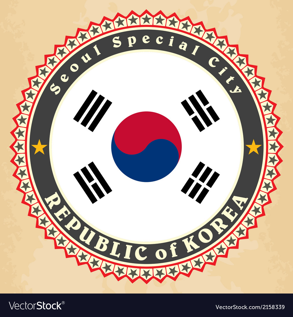 Vintage label cards of south korea flag vector | Price: 1 Credit (USD $1)