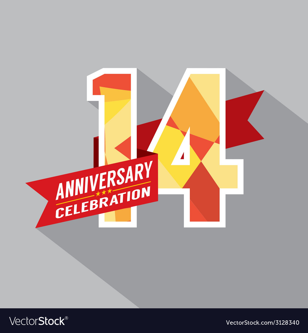 14th years anniversary celebration design vector | Price: 1 Credit (USD $1)