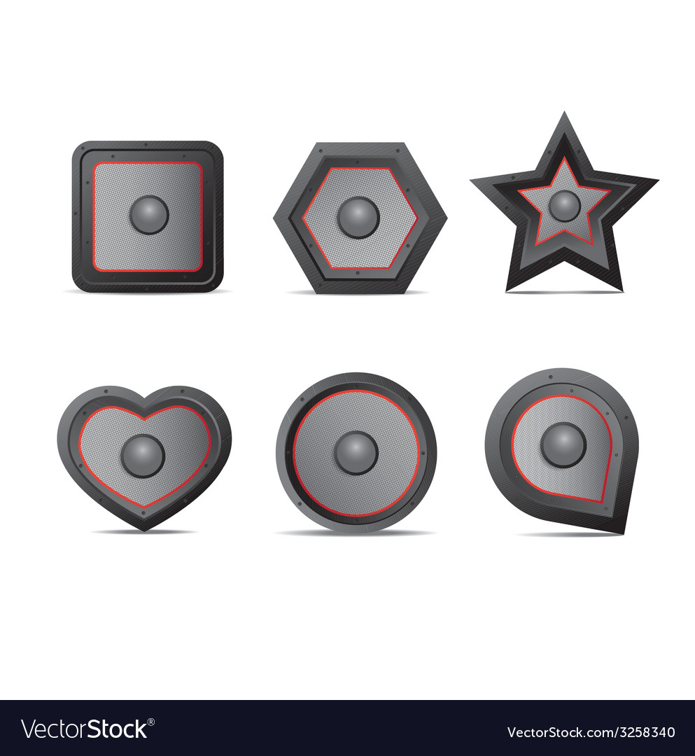 Amp speaker icon set vector | Price: 1 Credit (USD $1)