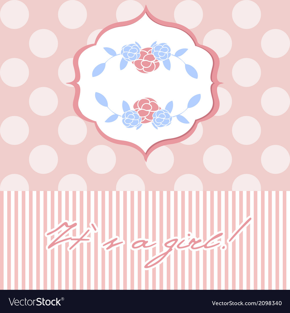 Baby girl shower card with seamless polka dots vector | Price: 1 Credit (USD $1)