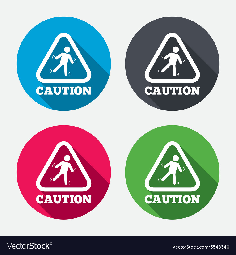 Caution wet floor icon human falling symbol vector | Price: 1 Credit (USD $1)