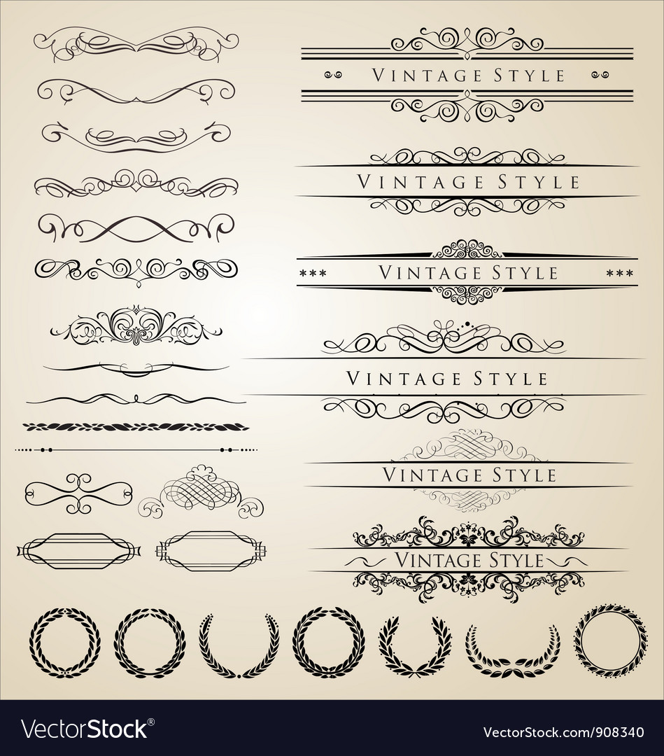Decorative border and frame set vector | Price: 1 Credit (USD $1)