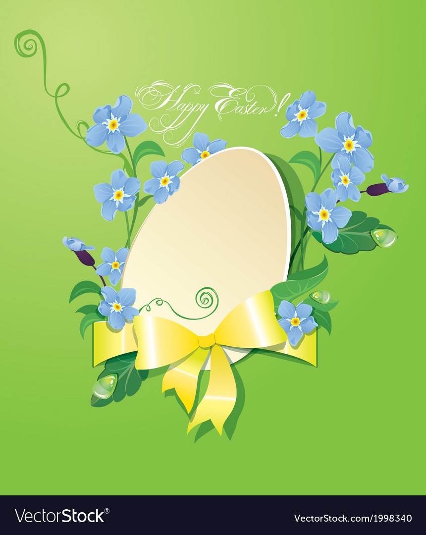 Easter greeting card with paper egg ribbon vector | Price: 1 Credit (USD $1)