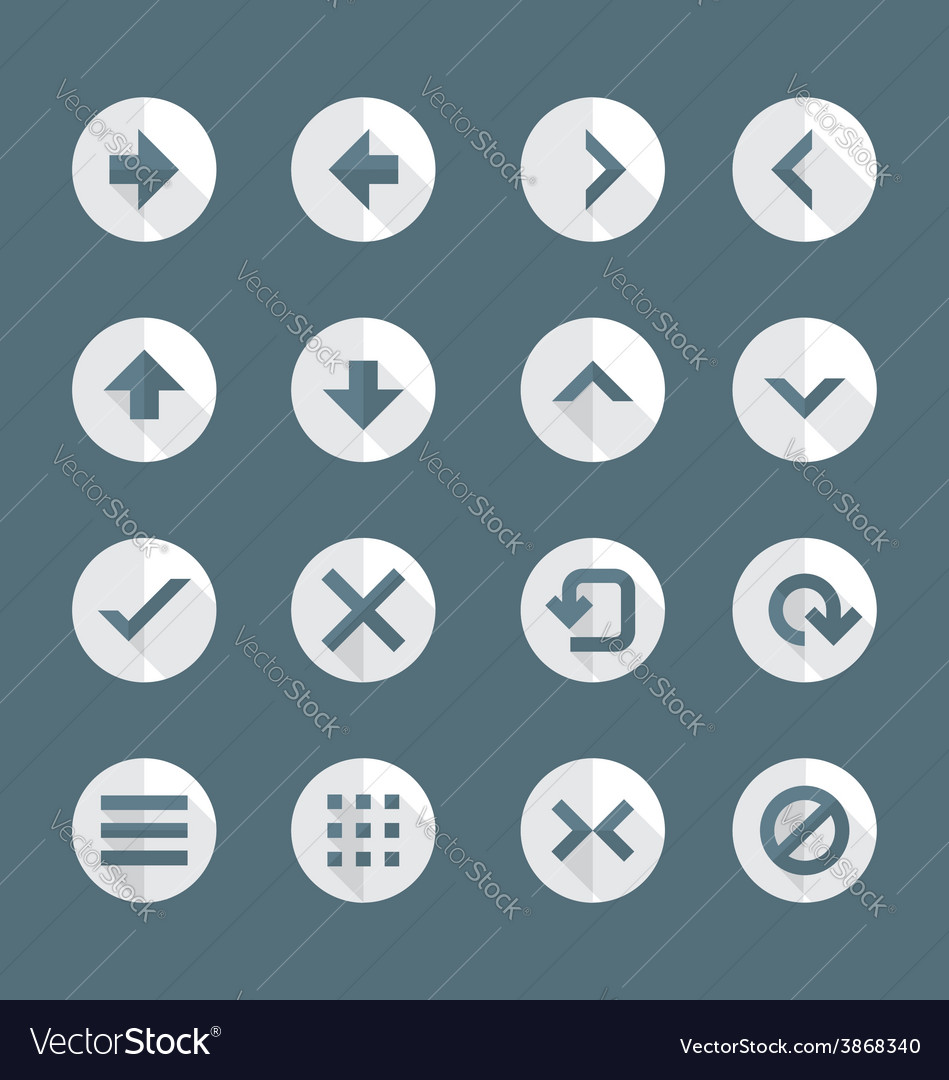 Flat style various navigation menu buttons icons vector | Price: 1 Credit (USD $1)
