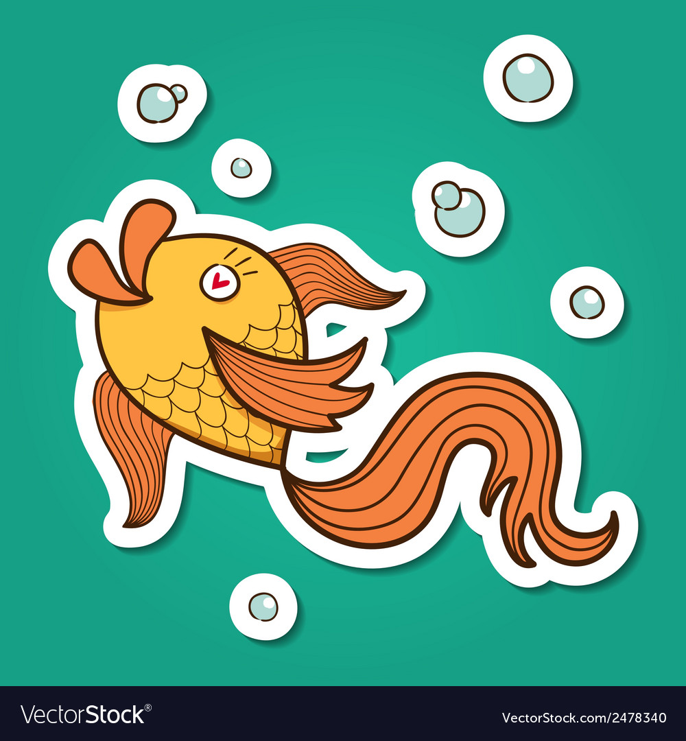 Golden fish character vector | Price: 1 Credit (USD $1)