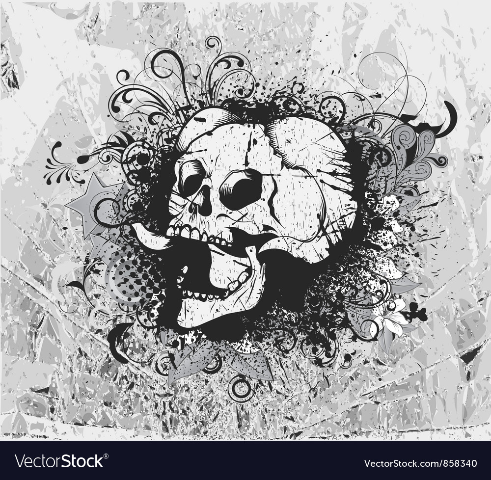 Grunge background with skull vector | Price: 1 Credit (USD $1)