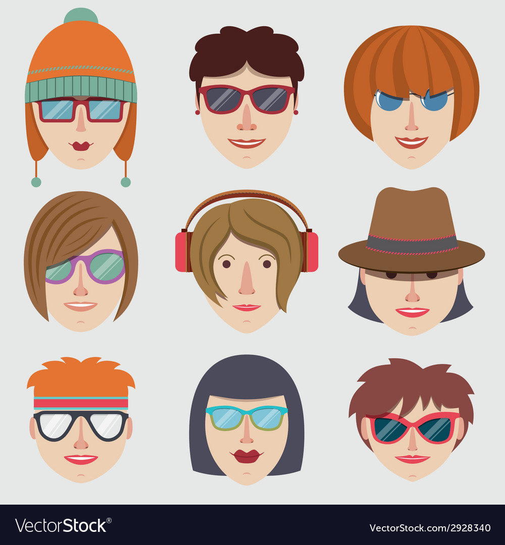 Hipster girl faces vector | Price: 1 Credit (USD $1)