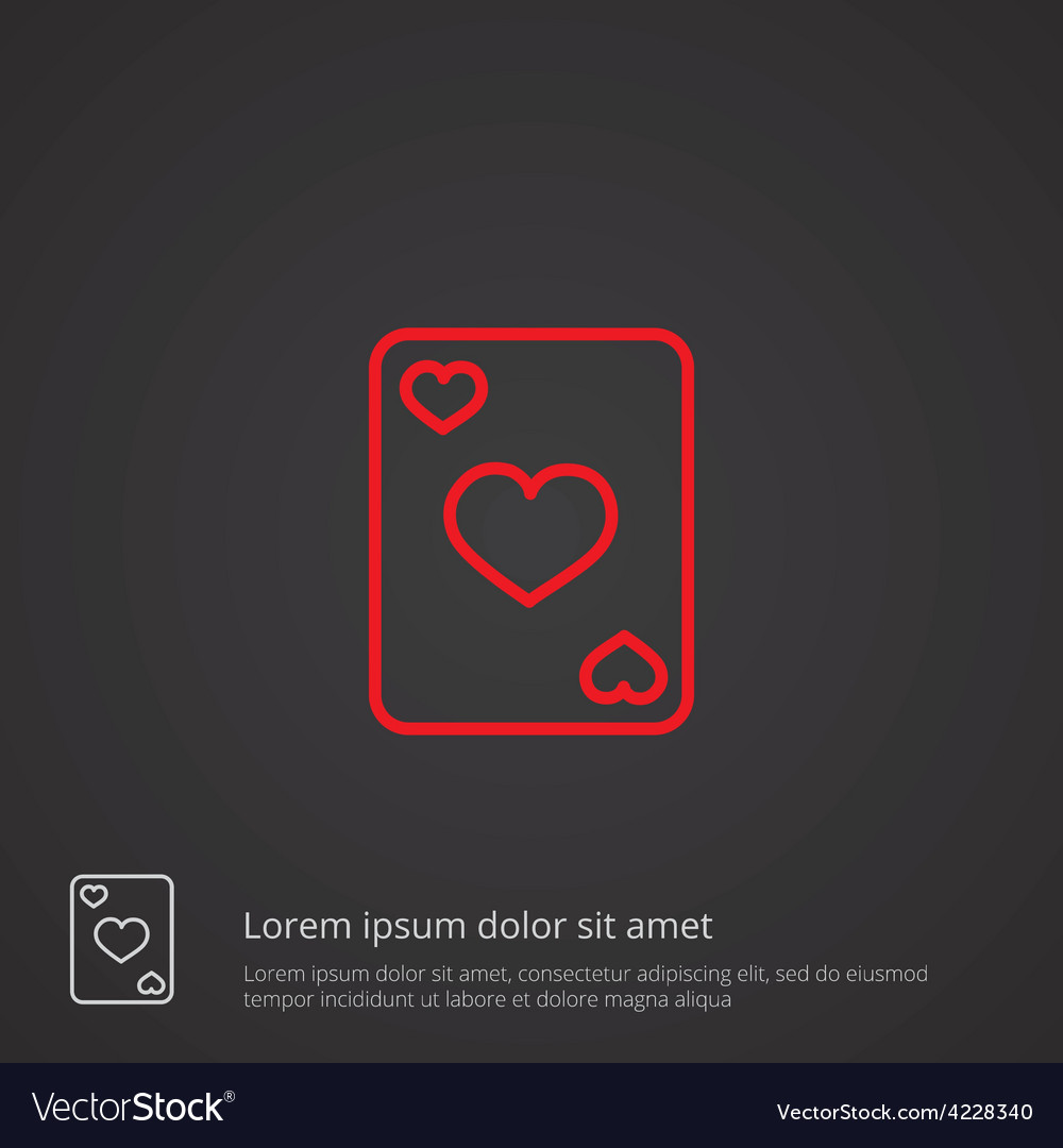 Poker outline symbol red on dark background logo vector | Price: 1 Credit (USD $1)