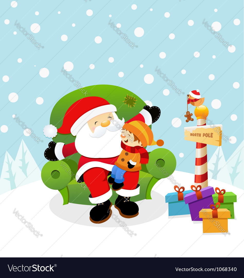 Santa with kid vector | Price: 3 Credit (USD $3)