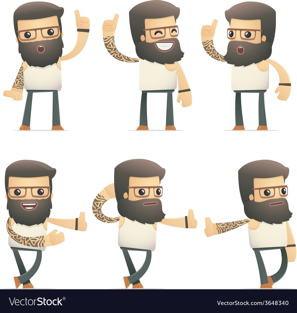 Set of tattoo artist character in different poses vector | Price: 1 Credit (USD $1)