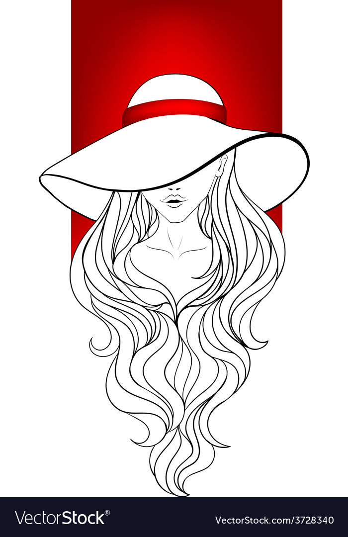 Young girl in a vintage hat vector | Price: 1 Credit (USD $1)