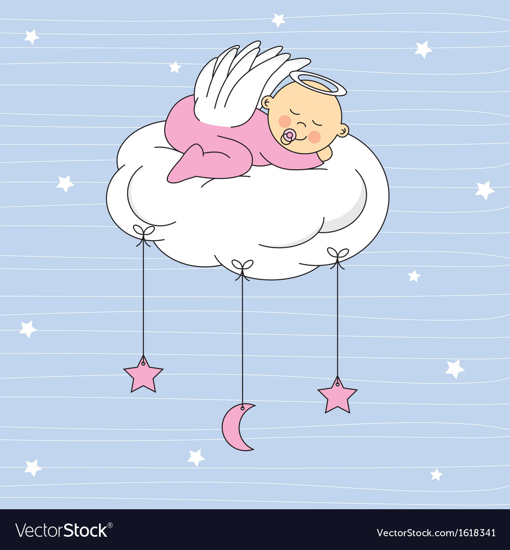 Baby girl sleeping on a cloud vector | Price: 1 Credit (USD $1)