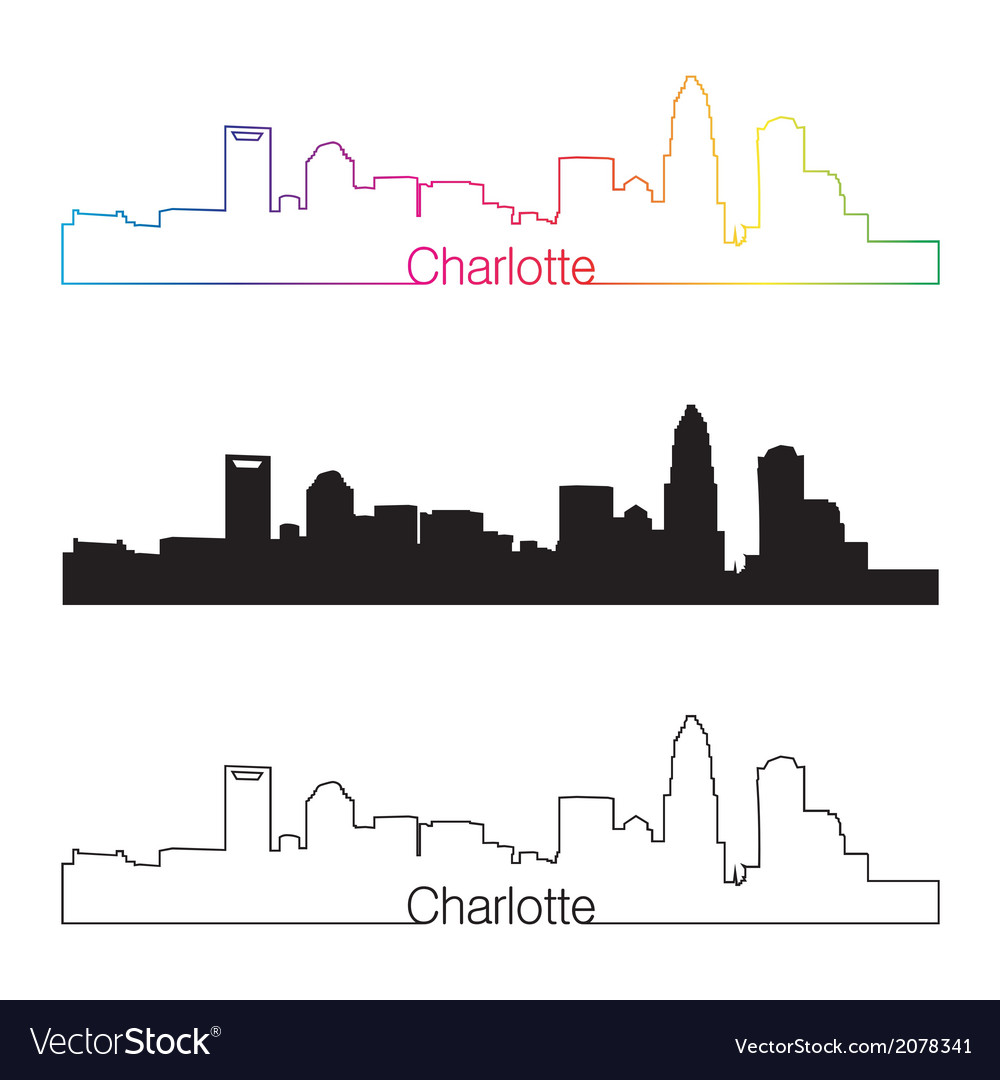 Charlotte skyline linear style with rainbow vector | Price: 1 Credit (USD $1)