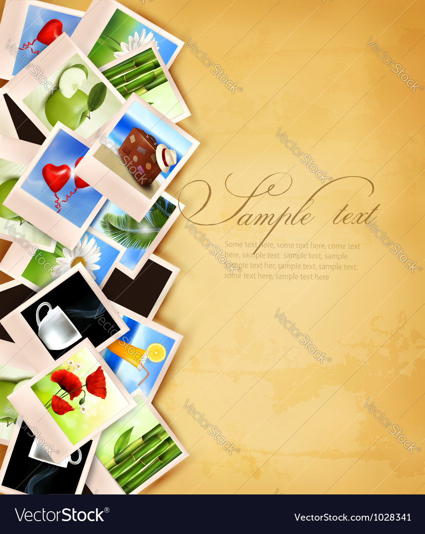 Colorful photos on old paper background vector | Price: 3 Credit (USD $3)