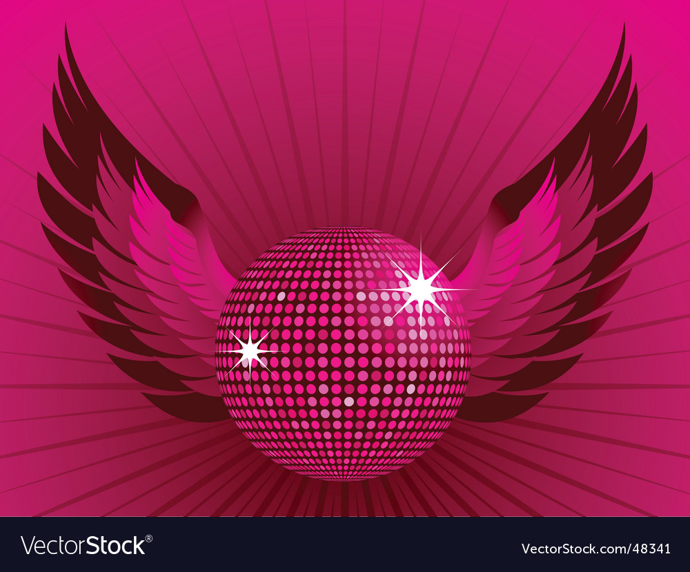 Disco ball and wings vector | Price: 1 Credit (USD $1)
