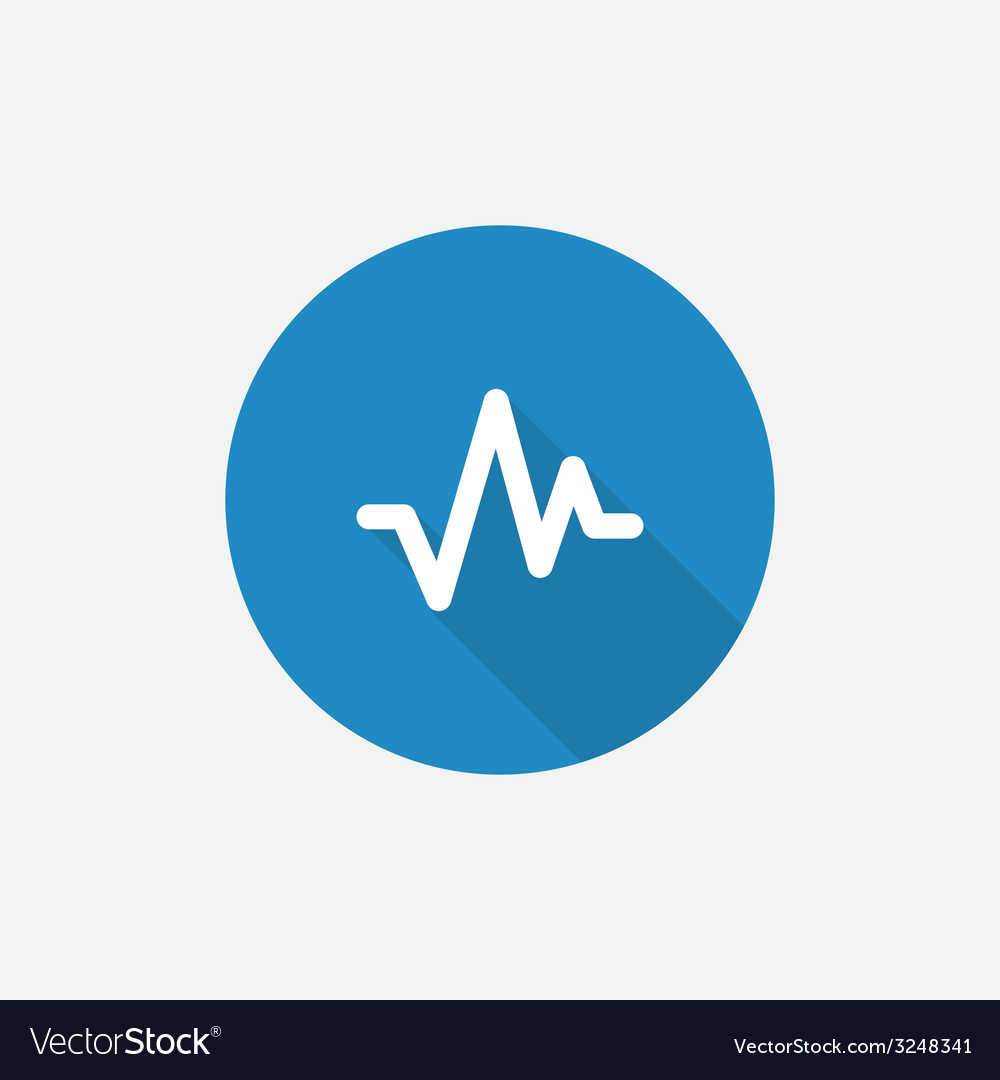 Pulse flat blue simple icon with long shadow vector | Price: 1 Credit (USD $1)