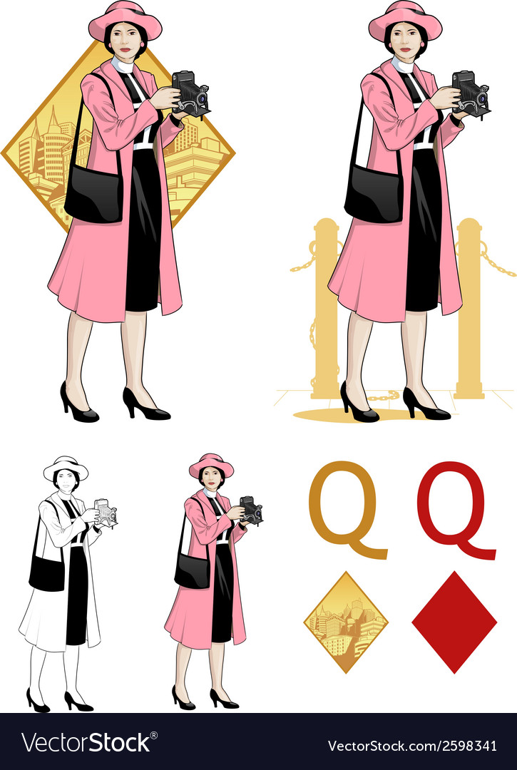 Queen of diamonds asian woman photographer mafia vector | Price: 3 Credit (USD $3)