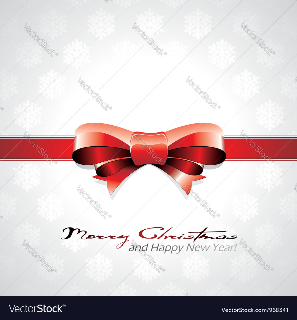 Red bow christmas background vector | Price: 1 Credit (USD $1)