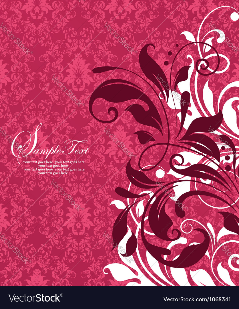 Red damask floral background vector | Price: 1 Credit (USD $1)